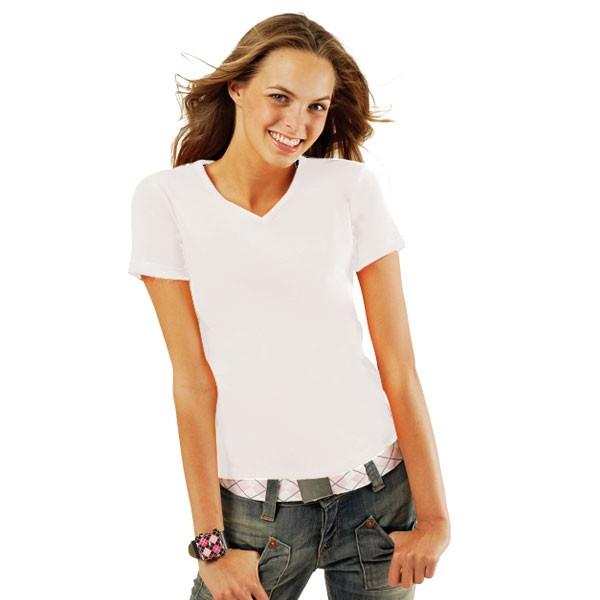 lady v tee shirt blanc pour femme col rond textile publicitaire. Black Bedroom Furniture Sets. Home Design Ideas