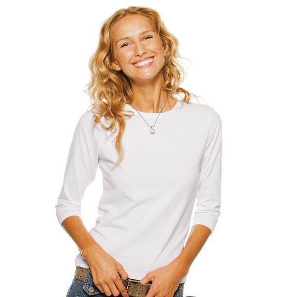 tee shirt femme manches 3 4 et col rond tee shirt blanc memphis t shirt publicitaire pour femme. Black Bedroom Furniture Sets. Home Design Ideas