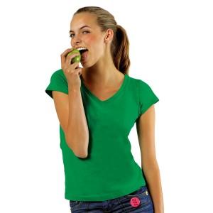 Moon - Tee-Shirt Femme Col V Couleur Vert Prairie