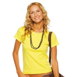 Lady O - Tee-Shirt pour femme col rond couleur jaune citron