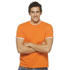 Madison - Tee-Shirt Homme bords francs roulottés couleur Orange